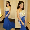 Show details for Sleeveless One Shoulder Lace Embellished Mermaid Long Evening Dress