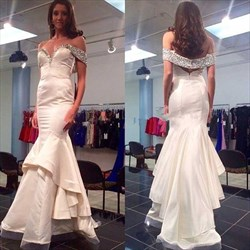Ivory Off Shoulder Beaded Sweetheart Ruffle Mermaid Long Prom Dress