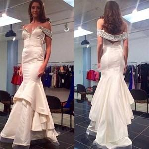 Ivory Off Shoulder Beaded Sweetheart Ruffle Mermaid Long Prom Dress