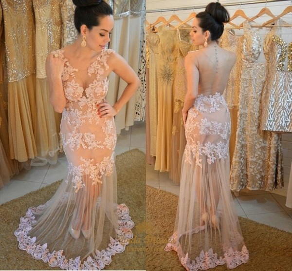 Illusion Floor Length Sleeveless Lace Applique Tulle Evening Dress