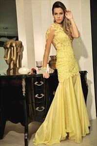 Illusion One Shoulder Long Sleeve Lace Bodice Drop Waist Prom Dress