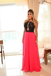 Two Tone Sleeveless A-Line Lace Bodice Chiffon Floor-Length Prom Dress