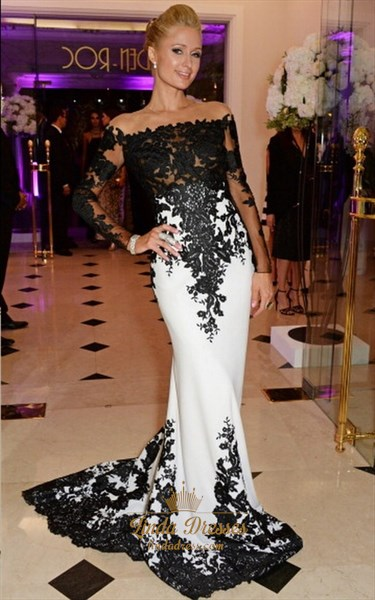 Black And White Off Shoulder Lace Embellished Mermaid Long Prom Dress