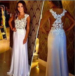 White Illusion Lace Bodice Sleeveless Floor-Length A-Line Prom Dress