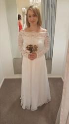 A-Line Off The Shoulder Long Sleeve Lace Bodice Chiffon Wedding Dress