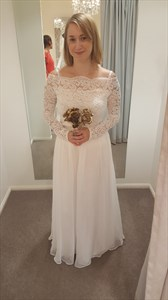 A-Line Off The Shoulder Long Sleeve Lace Bodice Chiffon Wedding Dress