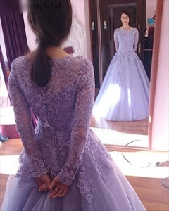 Elegant Long Sleeve Lace Bodice Floor Length A-Line Tulle Ball Gown