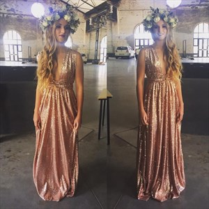 Sleeveless Sequin Plunge V-Neck A-Line Empire Waist Bridesmaid Dress