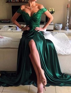 Emerald Green Off The Shoulder Lace Bodice Long Prom Dress With Slit