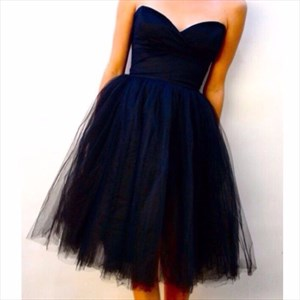 Simple Cute Short A-Line Strapless Homecoming Dress With Tulle Skirt