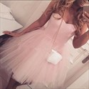Show details for Simple Cute Short A-Line Strapless Homecoming Dress With Tulle Skirt