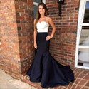 Black And White Strapless Floor-Length Mermaid Evening Dress With Bow