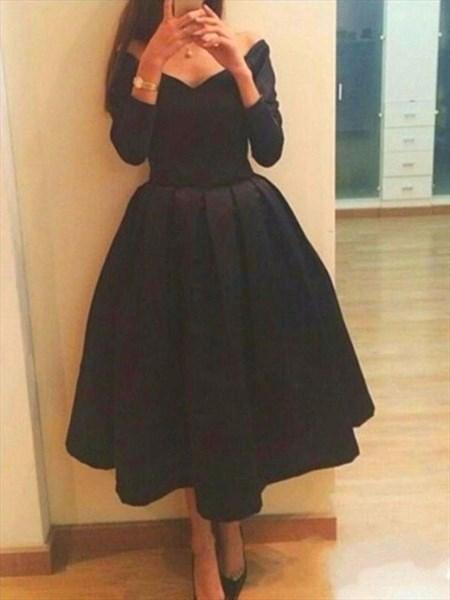 Simple Black Tea Length Long Sleeve Off Shoulder V-Neck Cocktail Dress