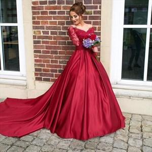 Burgundy Off The Shoulder V-Neck Long Sleeve Wedding Dress With Train