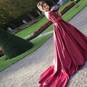 Show details for Burgundy Off The Shoulder V-Neck Long Sleeve Wedding Dress With Train