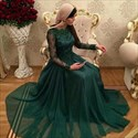 Show details for Emerald Green Long Sleeve A-Line Chiffon Prom Dress With Lace Bodice