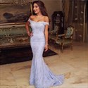 Lilac Off-The-Shoulder Floor-Length Mermaid Lace Elegant Evening Dress