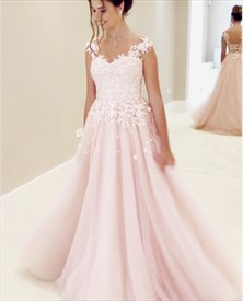 Blush Pink Sleeveless A-Line Floor-Length Floral Applique Evening Gown