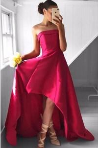 Fuchsia Strapless Sleeveless High Low A-Line Satin Long Prom Dress