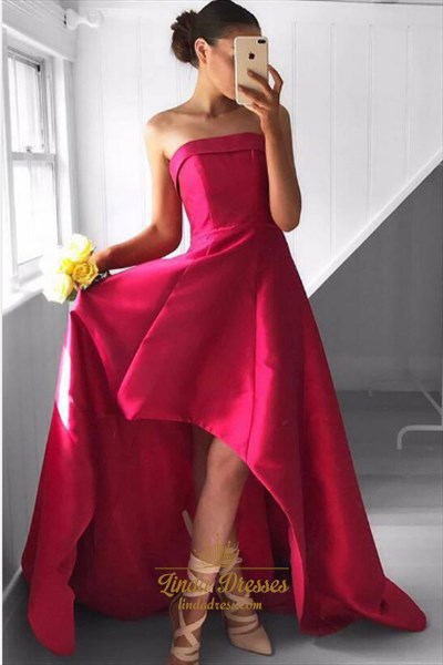 Fuchsia Strapless Sleeveless High Low A-Line Satin Long Prom Dress