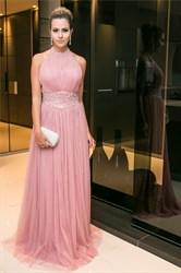 Elegant Halter Sleeveless Floor-Length A-Line Beaded Tulle Prom Dress