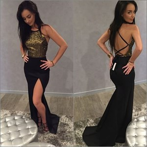 Sleeveless Spaghetti Strap Sequin Bodice Backless Prom Dress With Slit