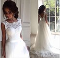 Show details for Sleeveless Floor Length A-Line Lace Bodice Tulle Skirt Wedding Dress