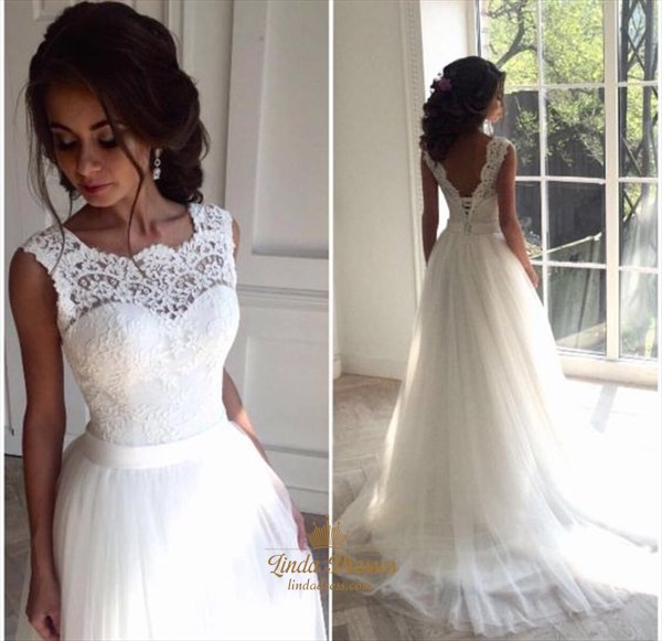 Sleeveless Floor Length A-Line Lace Bodice Tulle Skirt Wedding Dress