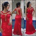 Show details for Red Sleeveless Floor-Length Sheath Evening Dress With Illusion Bodice