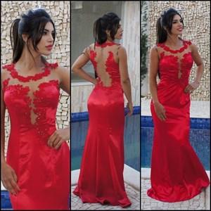 Red Sleeveless Floor-Length Sheath Evening Dress With Illusion Bodice