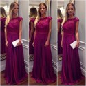 Show details for Fuchsia Elegant A-Line Floor-Length Cap Sleeve Lace Bodice Prom Dress