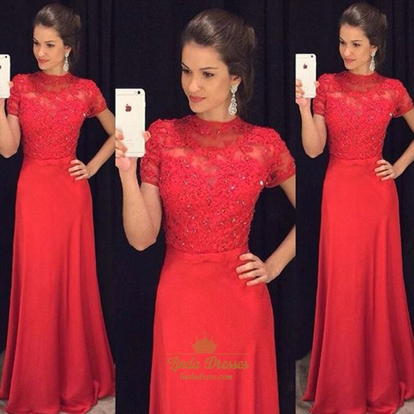 Red Short Sleeve Floor Length Lace Bodice A-Line Satin Formal Dress