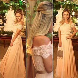 A-Line Off-The-Shoulder Lace Neckline Chiffon Floor Length Prom Dress