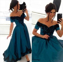 A-Line Off Shoulder Floor-Length Lace Embellished High Low Prom Dress