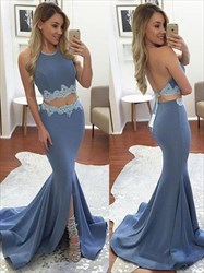 Two Piece Halter Sleeveless Backless Floor Length Mermaid Evening Gown