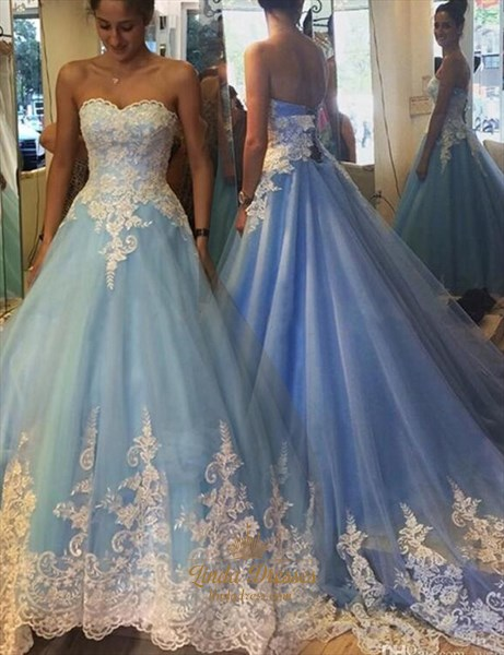 Blue Strapless Lace Embellished A-Line Floor-Length Tulle Ball Gown