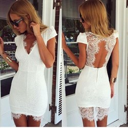 V-Neck Cap Sleeve Lace Short Sheath Cocktail Dress With Illusion Back