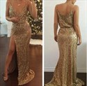 Spaghetti Strap Plunging V-Neck Sequin Long Evening Dress With Slit