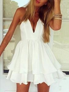 White Sleeveless Spaghetti Strap Deep V-Neck A-Line Homecoming Dress