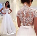 Show details for Illusion Lace Bodice Cap Sleeve A-Line Wedding Dress With Tulle Skirt