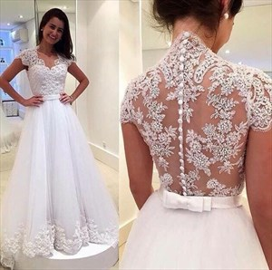 Illusion Lace Bodice Cap Sleeve A-Line Wedding Dress With Tulle Skirt