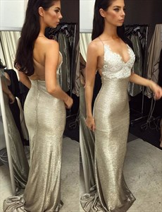 Sleeveless Spaghetti Strap Backless Sequin Long Prom Dress With Lace