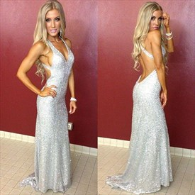 Silver Sleeveless Plunging V-Neck Sequin Evening Dress With Open Back