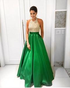 Grass Green Halter Beaded Bodice Satin Floor-Length A-Line Prom Dress