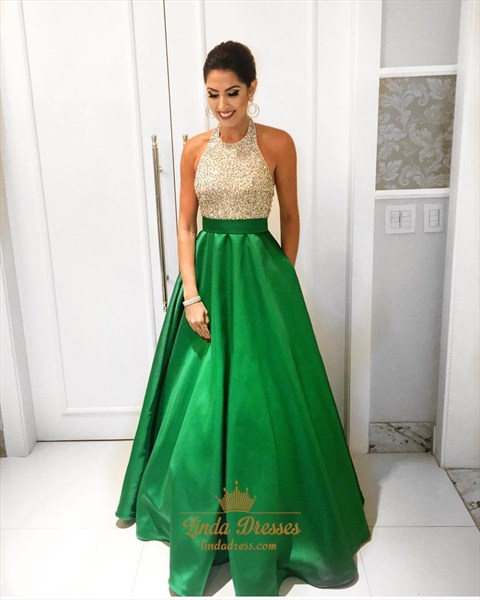 Show details for Grass Green Halter Beaded Bodice Satin Floor-Length A-Line Prom Dress