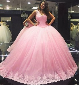 Elegant Pink Sleeveless Lace Bodice A-Line Tulle Quinceanera Ball Gown