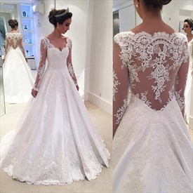 Illusion Long Sleeve V-Neck Lace Applique Satin A-Line Wedding Dress