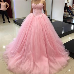 Pink Strapless Lace Embellished A-Line Tulle Quinceanera Ball Gown