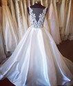 Show details for Illusion Backless Sleeveless A-Line Lace Bodice Satin Wedding Dress