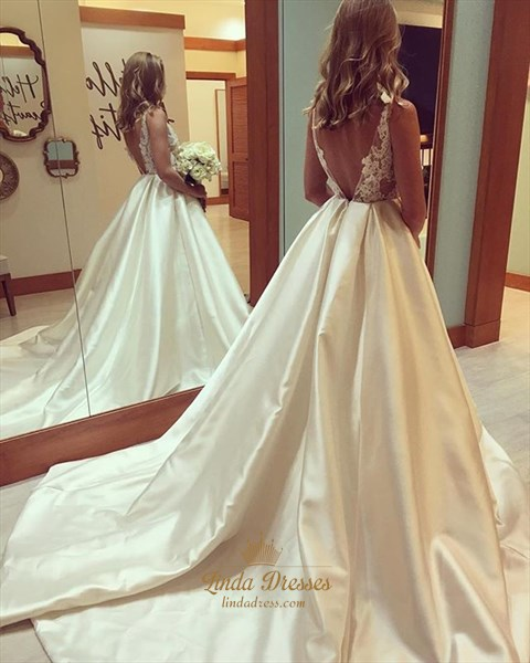 Illusion Backless Sleeveless A-Line Lace Bodice Satin Wedding Dress